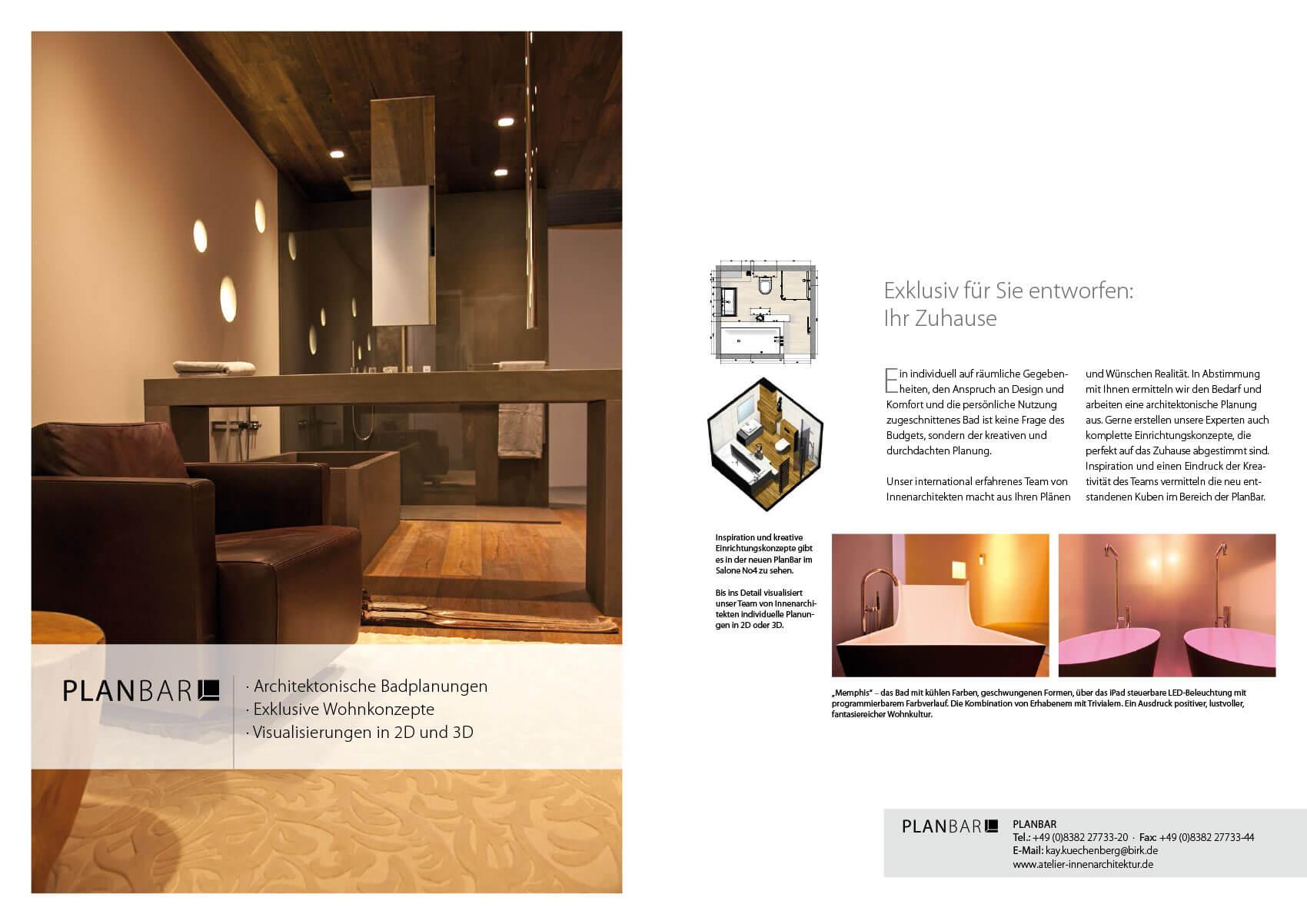 Titelseite der Imagebroschüre von Salone No4; diese Doppelseite stellt den architektonischen Planungsservice dar.
