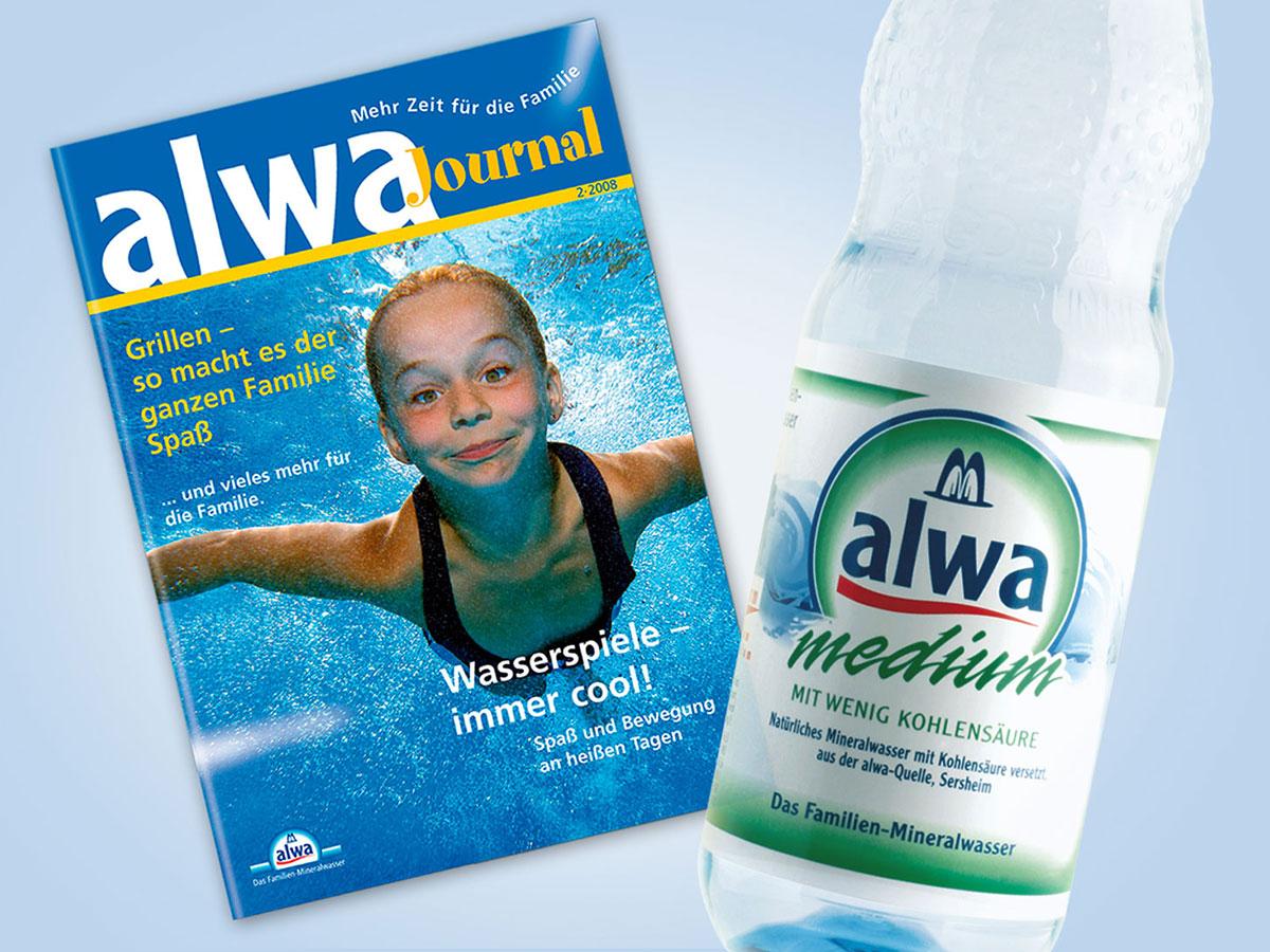Das Familienjournal von alwa Mineralwasser erhielt ein lebendiges Layout und wurde gratis in den Getränkekästen verteilt.