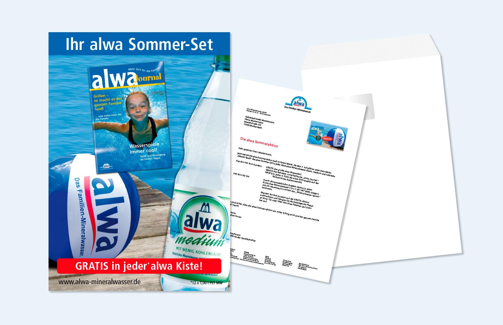 Ein Mailing an die Getränkefachhändler informierte über die Sommeraktion von alwa Mineralwasser: als Gratis-Beilage in den Getränkekästen gab es das Familienjournal und einen Strandball.