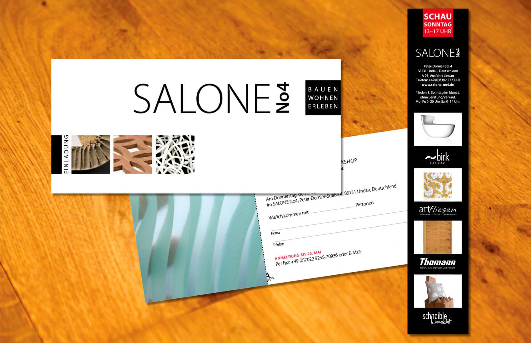 Klare, stilvolle Einladung zum Materialworkshop für Handwerker und Architekten. Schausonntag-Anzeige für die Zeitung mit hochwertigen Produktabbildungen.