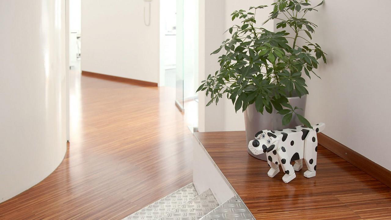 Ein kleiner Dalmatiner aus Holz steht an der Treppe im Flur