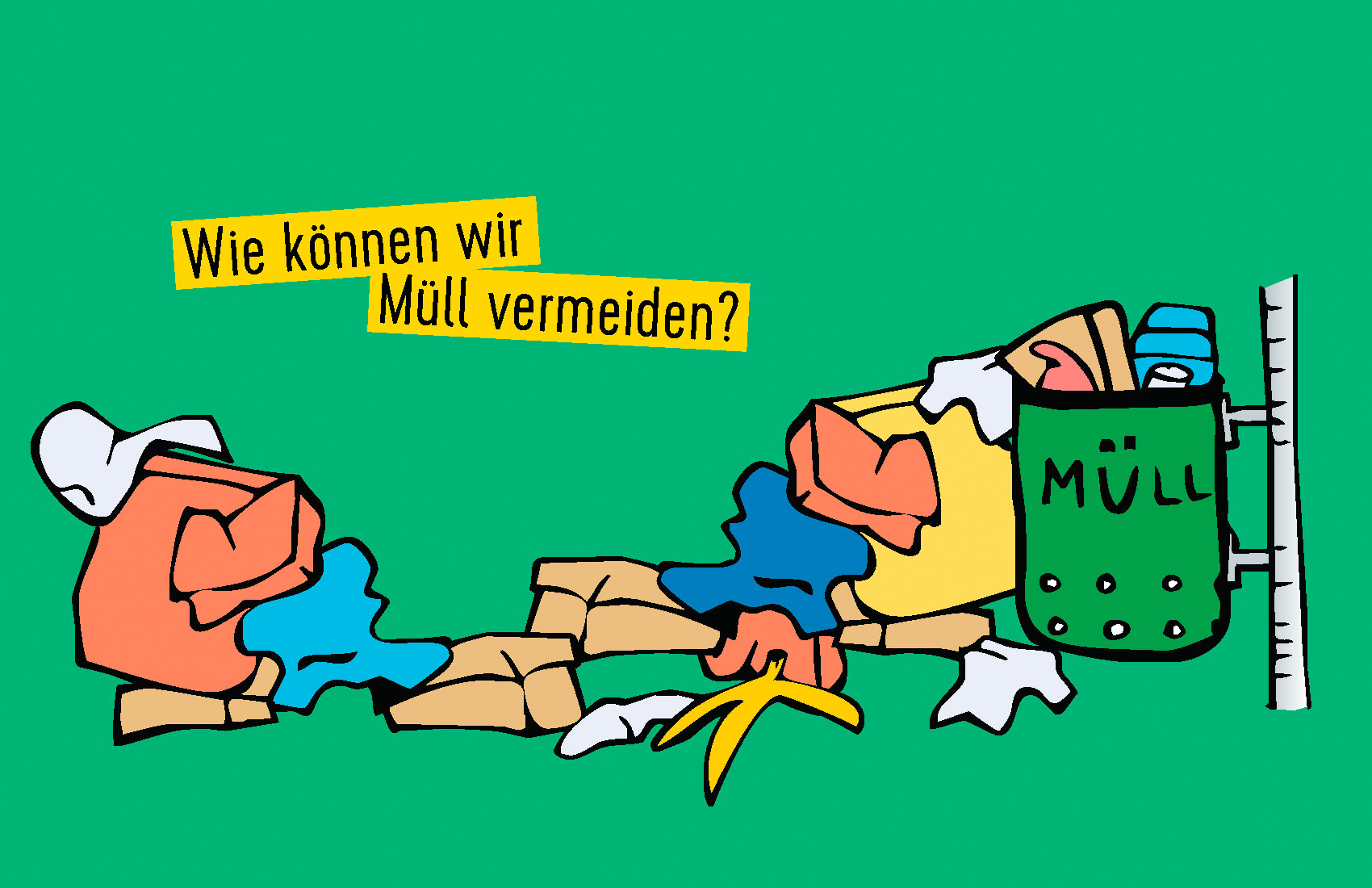 """Illustration zum Thema """"Wie vermeidet man Müll"""". Hier quillt ein Mülleimer über."""