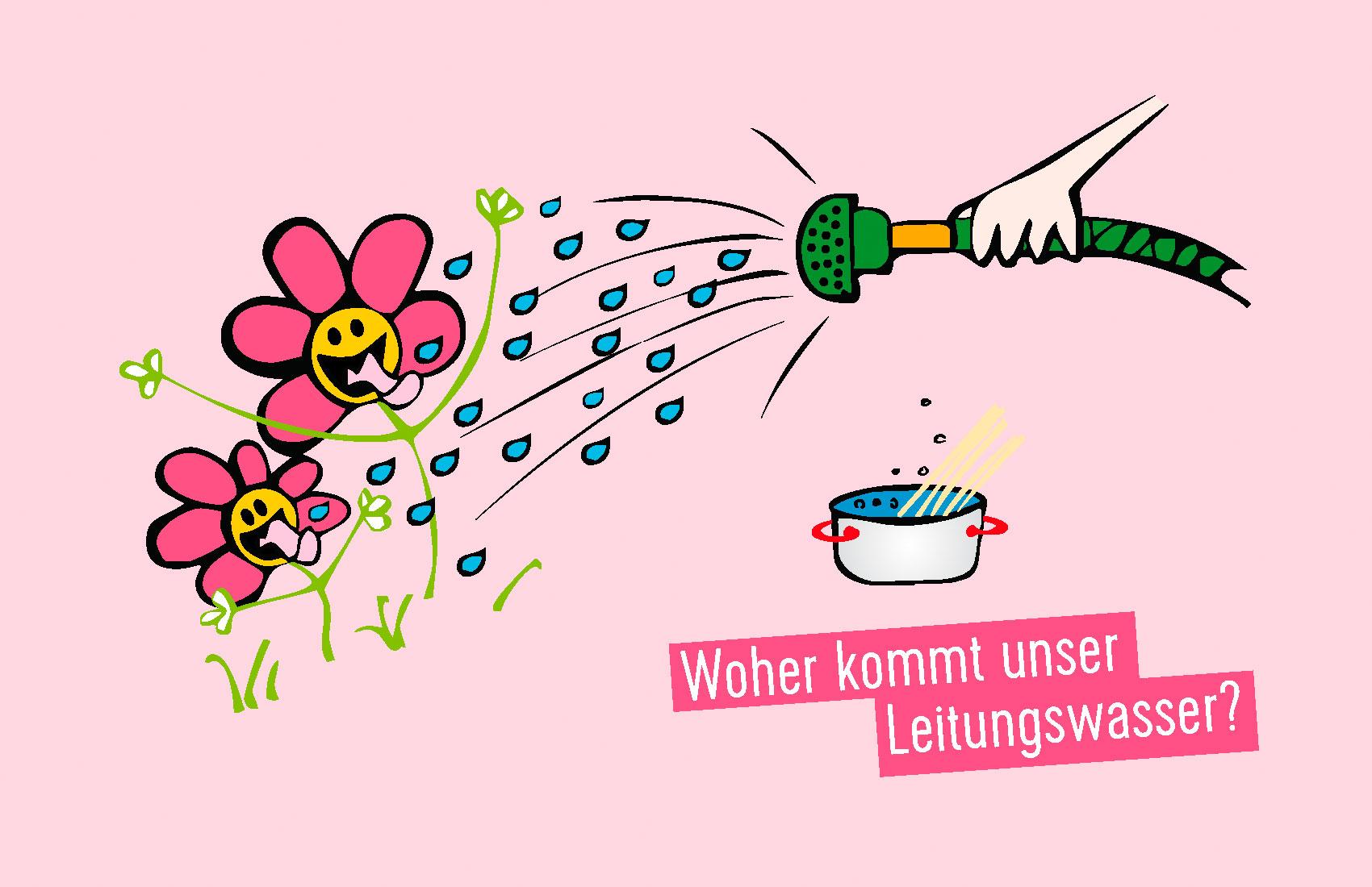 Illustration: Blumen werden gegossen, Wasser kocht. Thema: wo kommt unser Leitungswasser her?