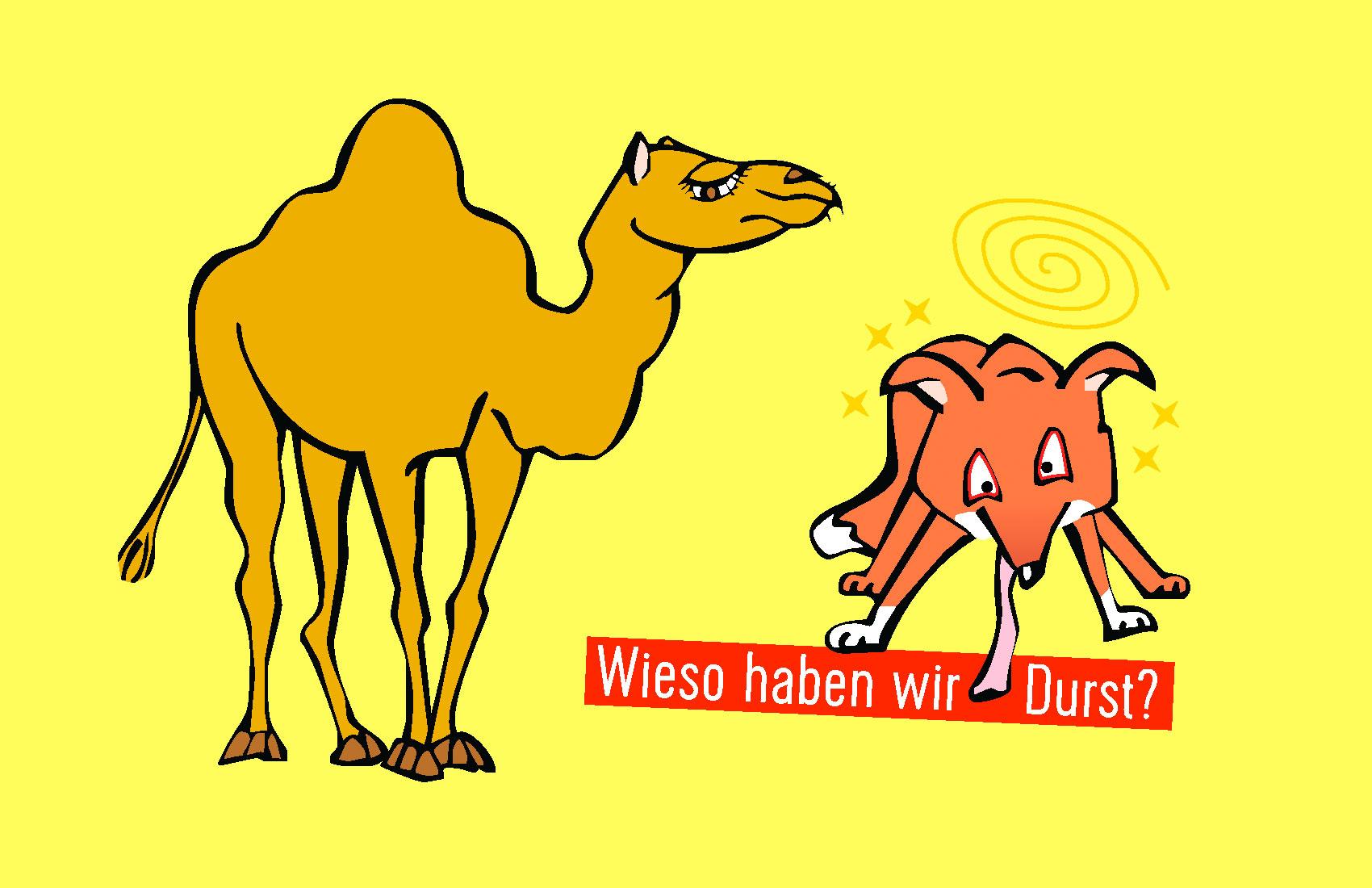 """Illustration zum Thema """"Warum haben wir Durst?"""". Kamel und verdurstender Fuchs."""