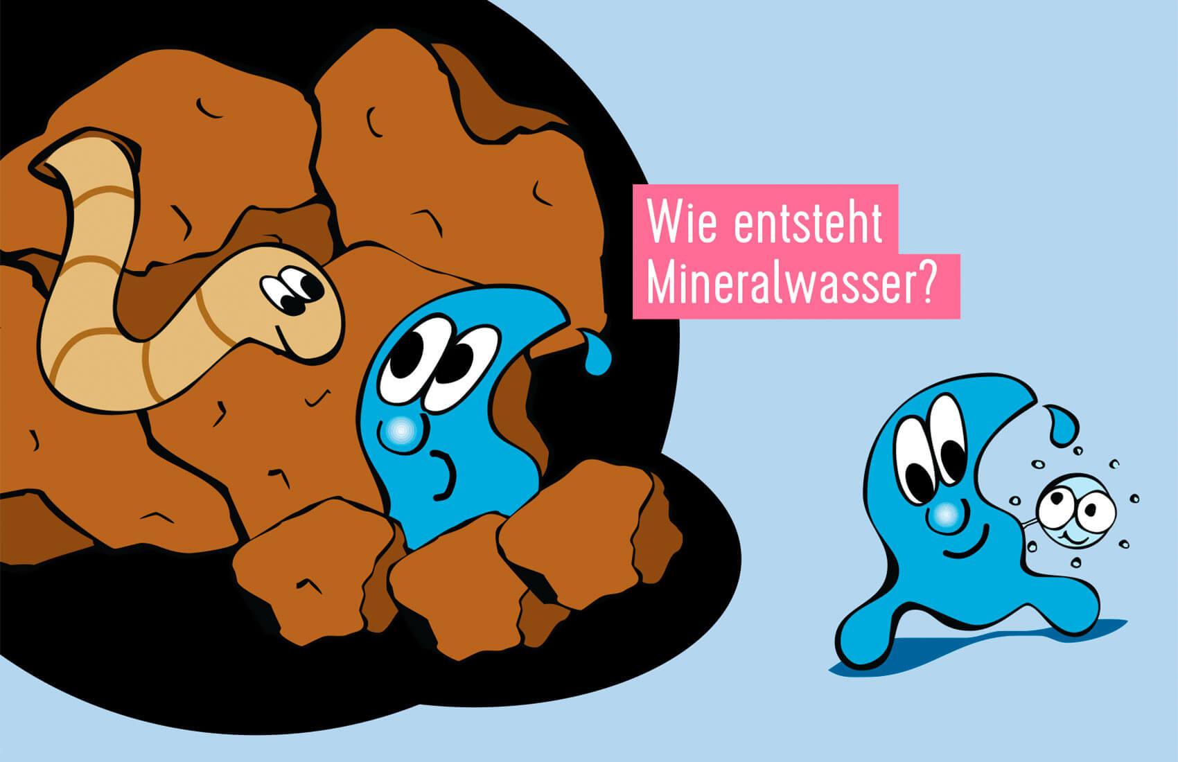 Illustration eines Comic-Wassertropfens unter der Erde: wie entsteht Mineralwasser?