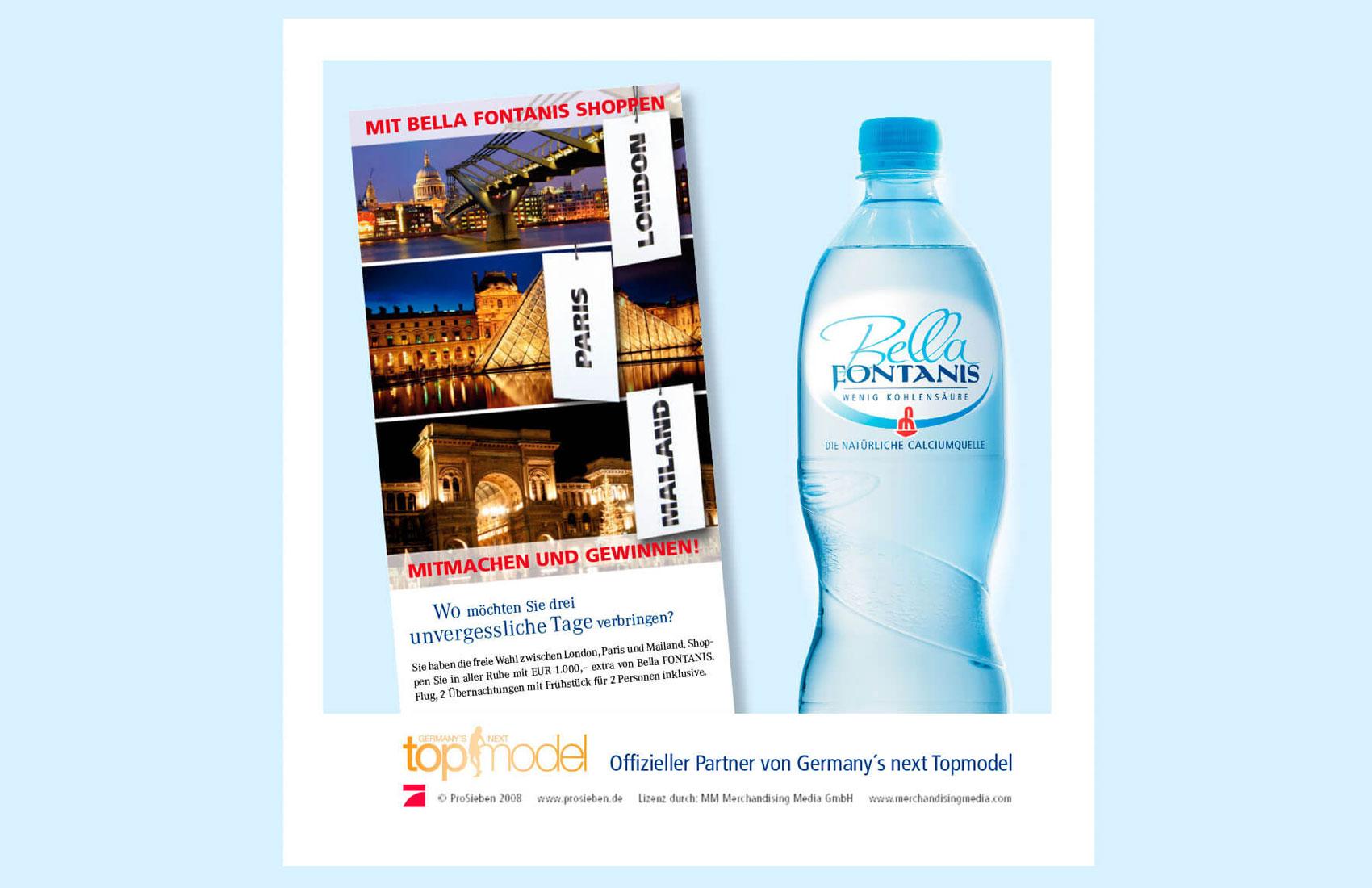 Gewinnspielkarte. Zu gewinnen waren 3 Shoppingreisen in die Modemetropolen London, Paris