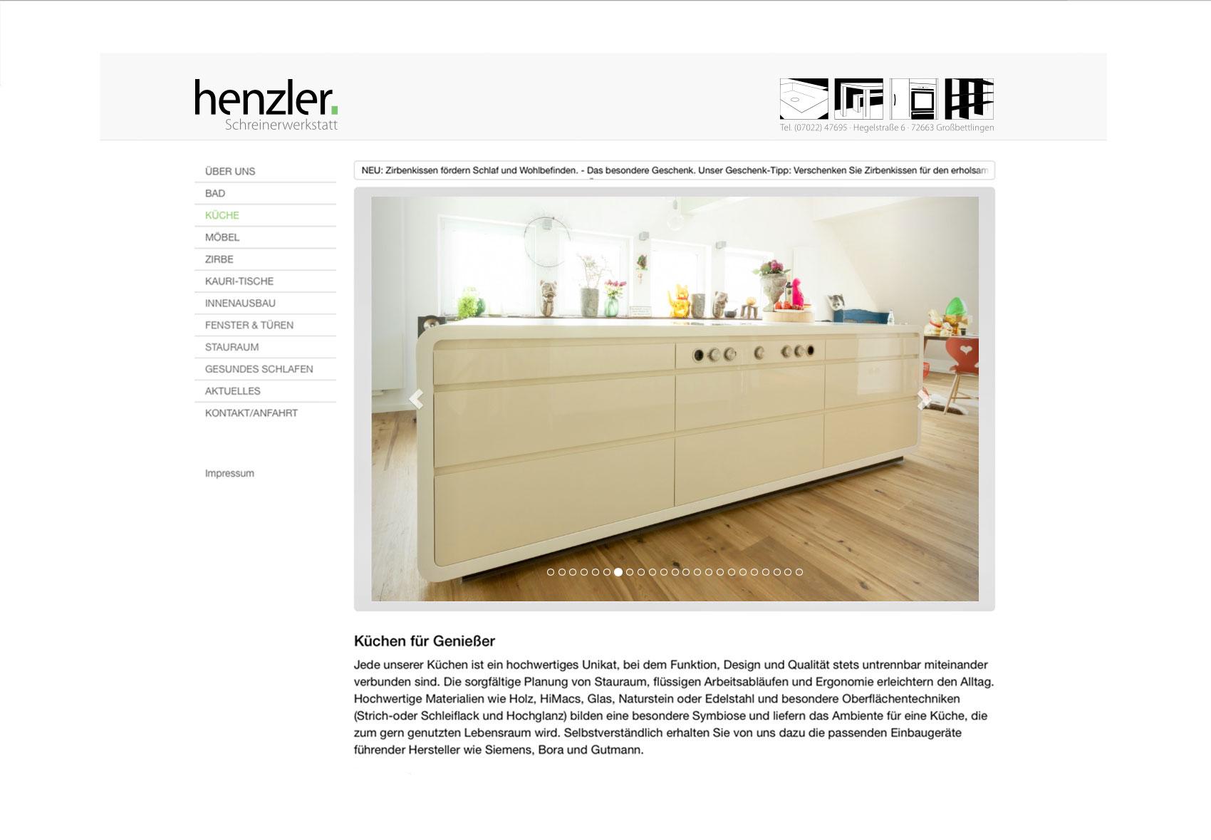 Jede Menüseite auf der Website hat eine Bildergalerie mit Referenzbriefen. Hier: Küchen.