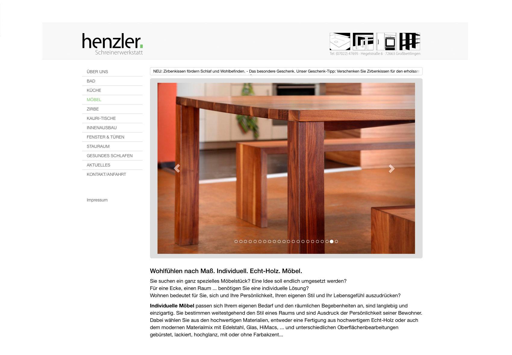 Jede Menüseite auf der Website hat eine Bildergalerie mit Referenzbriefen. Hier: Möbel.