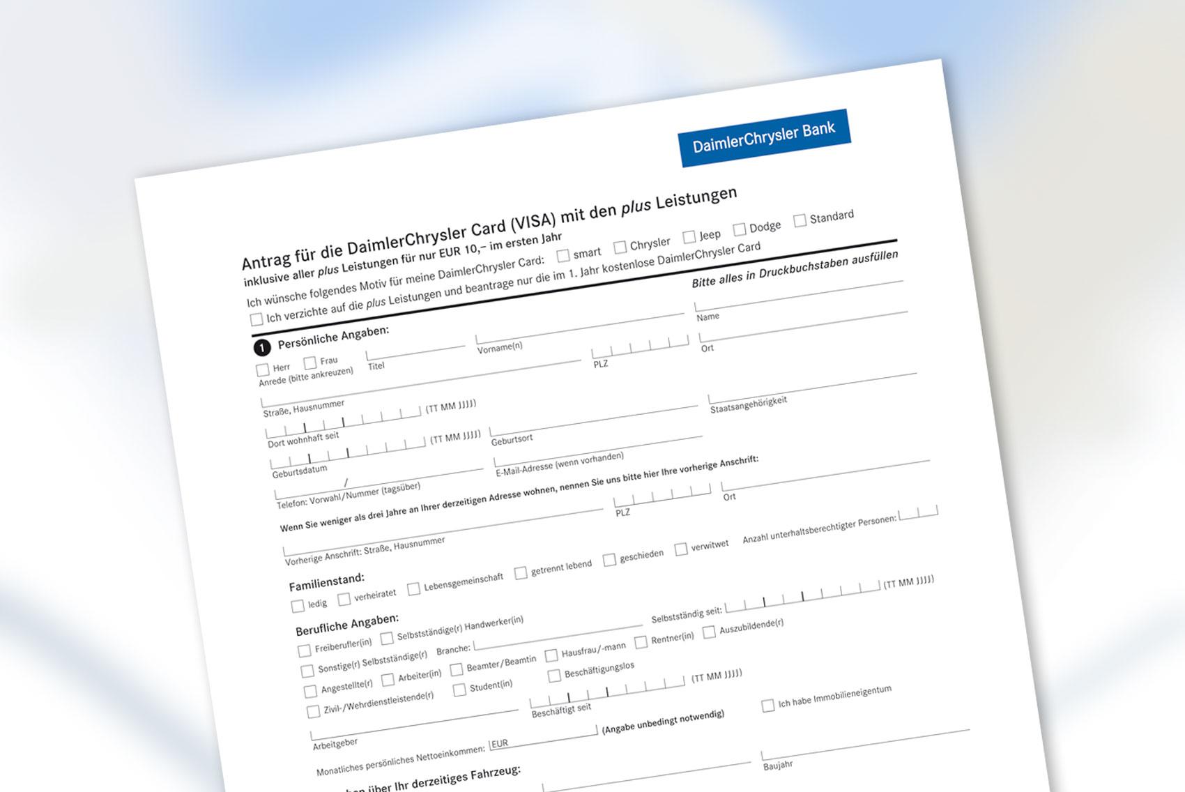 Das fertige Formular für einen Kreditkartenantrag