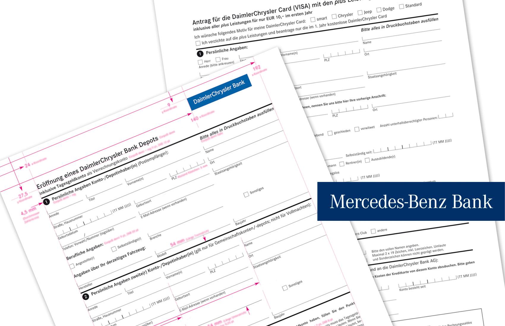 Vermaßung der Antragsformulare der Mercedes-Benz Bank (ehemals DaimlerChrysler Bank) für den Druck