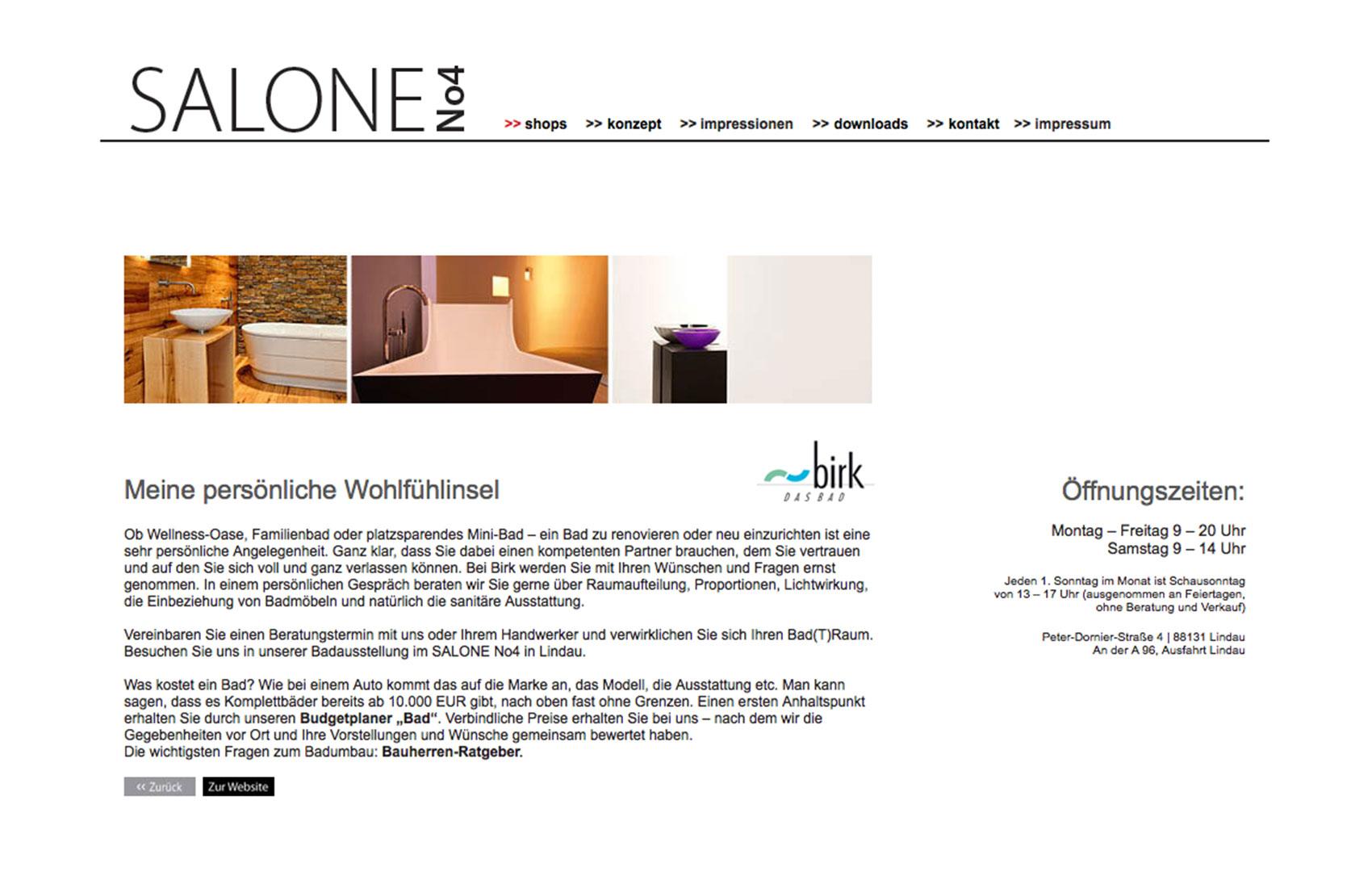 Webdesign für Salone No4 im Stil des Corporate Designs