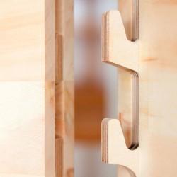 Zirbenholzverbindung ohne Schrauben